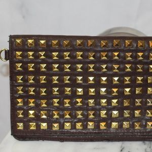Brown & Gold Leather Clutch